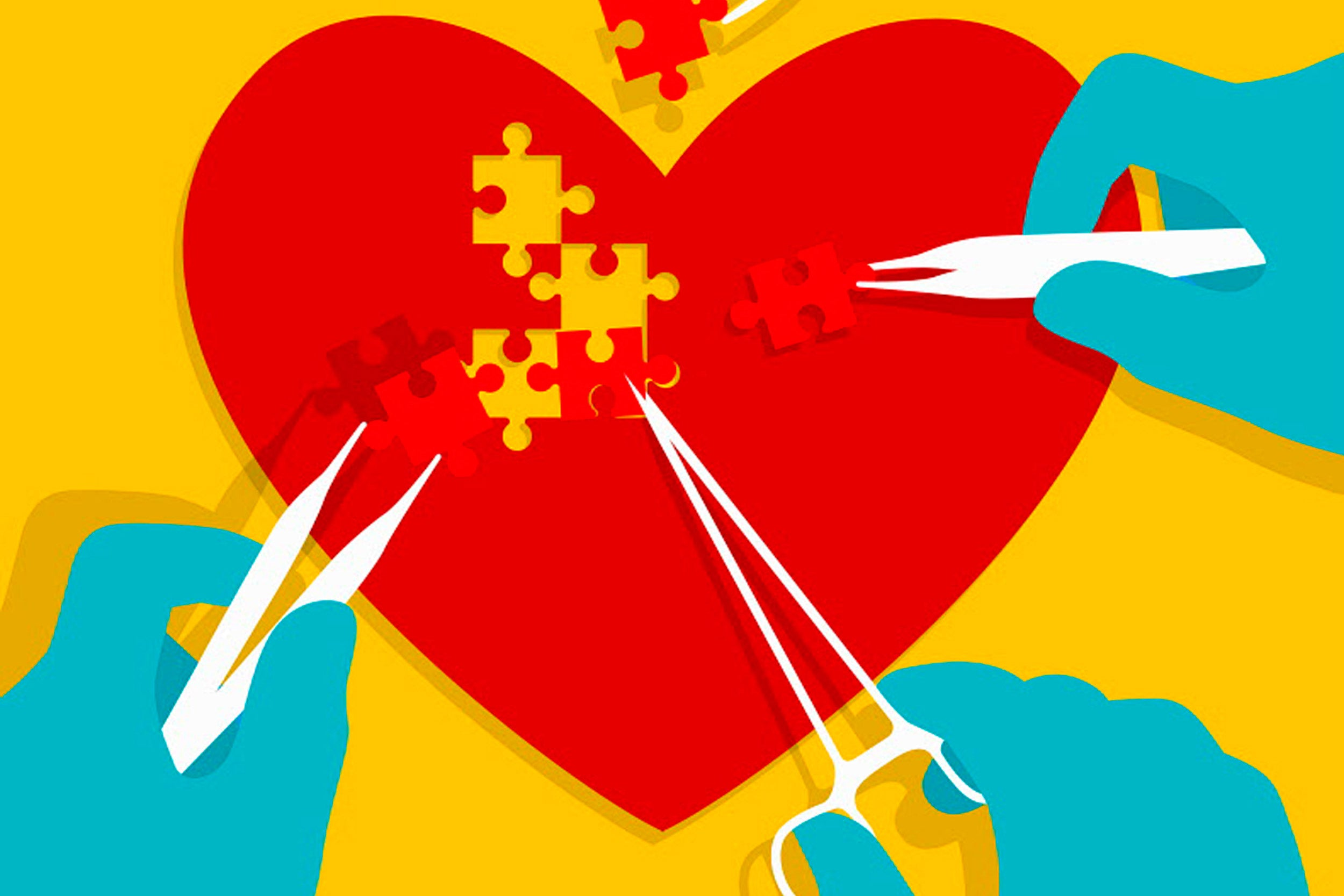 Illustration of heart with puzzle pieces.