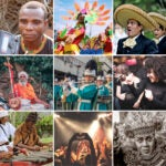 Collage of people playing music around the world.