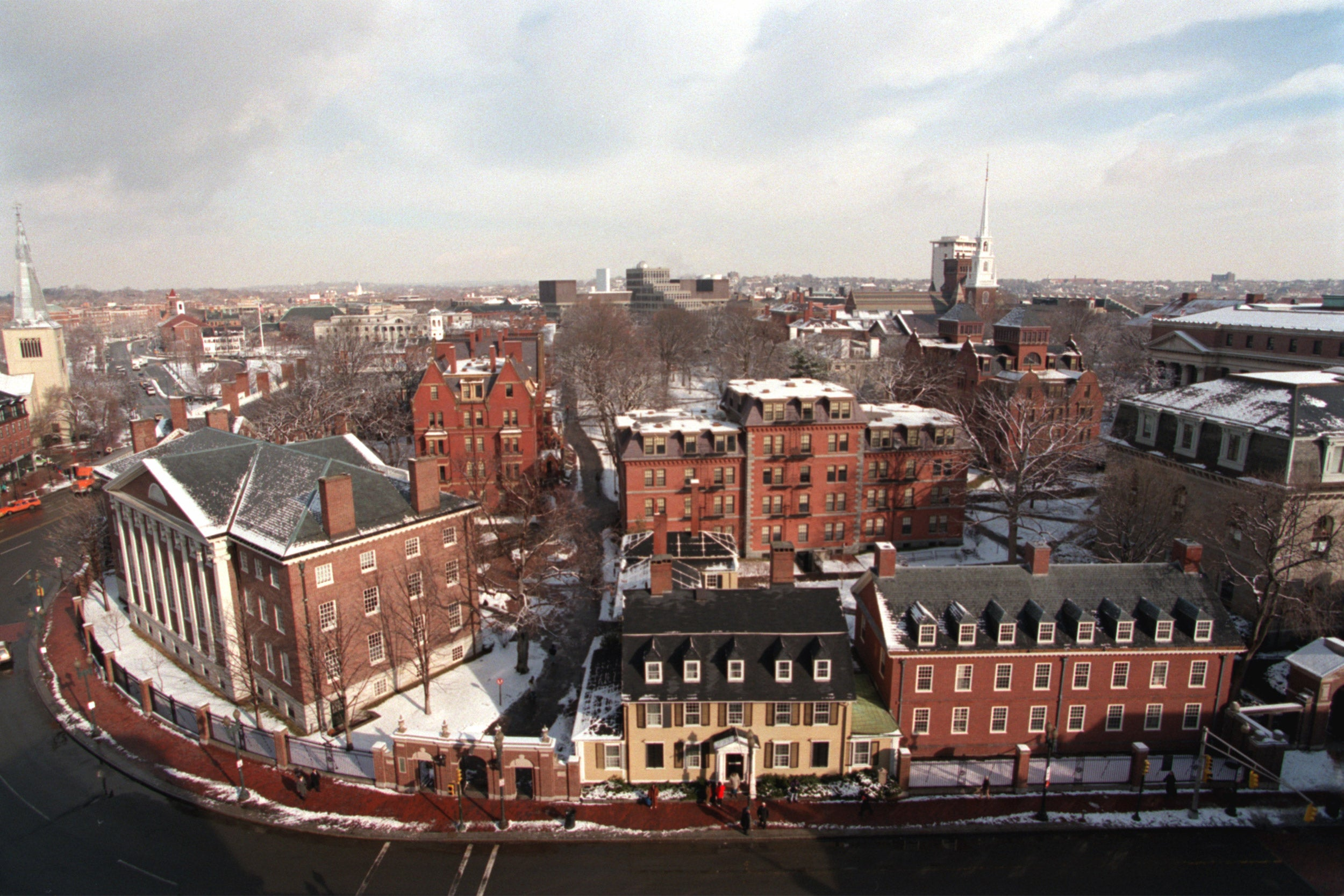 Overview of Harvard Yard with snow
