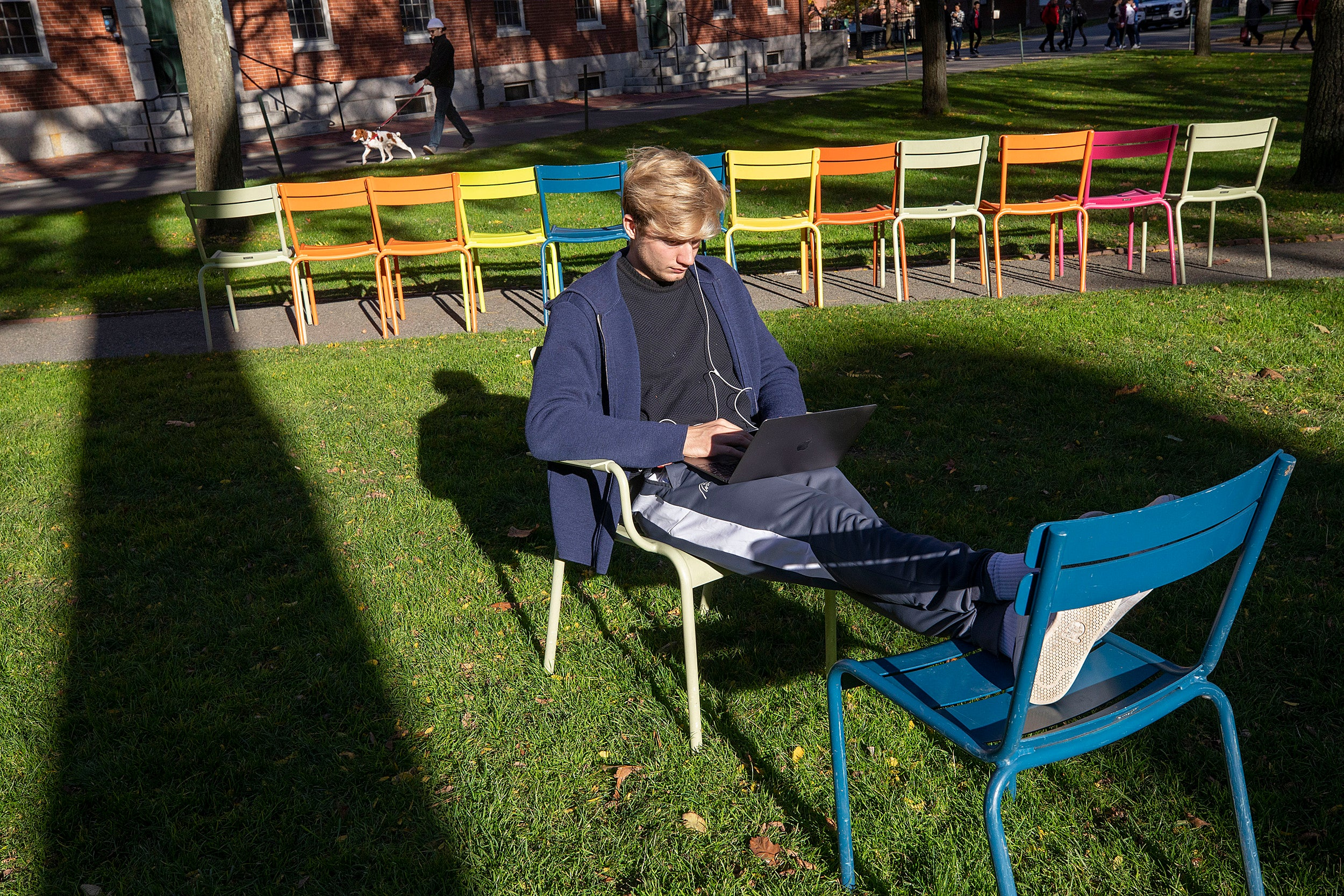 Student studying in the yard.