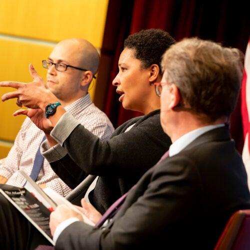 University Professor Danielle Allen onstage at the Kennedy School forum.