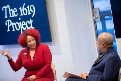 Nikole-Hannah Jones, creator of the NY Times' 1619 Project speaks with Henry Louis Gates Jr.