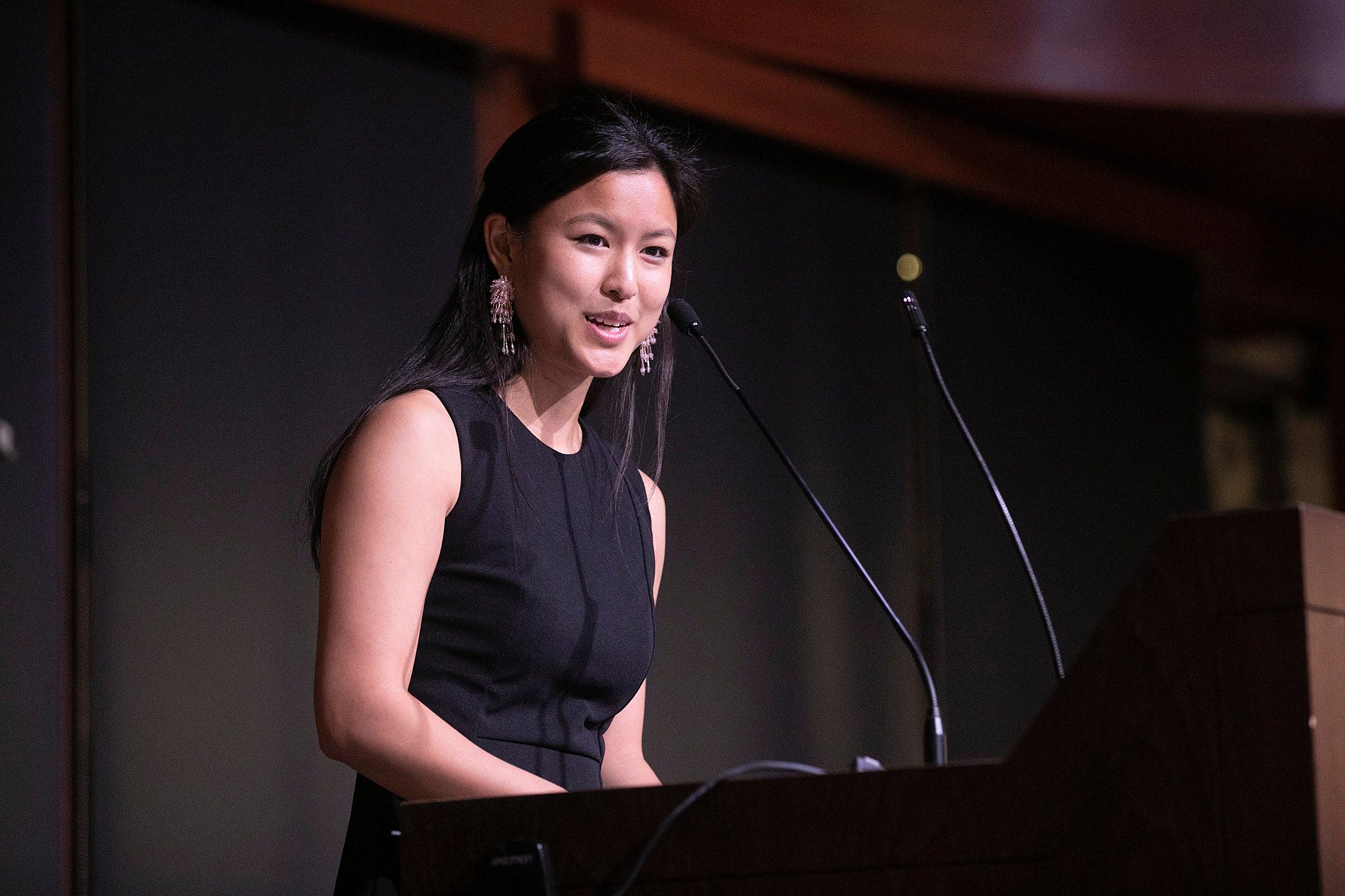 Angelina Ye address graduates.
