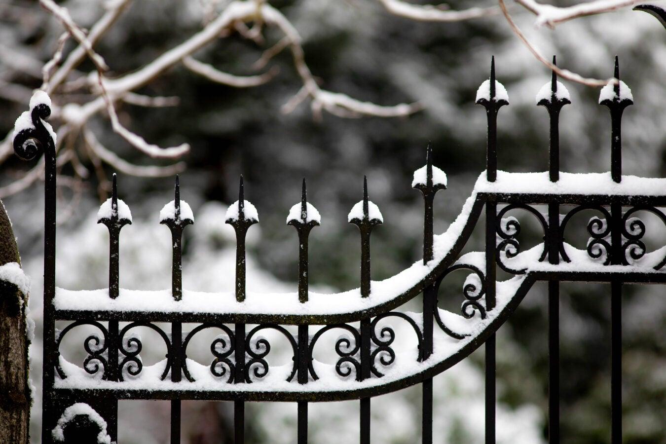 Snow blankets the Washington Street Gate.