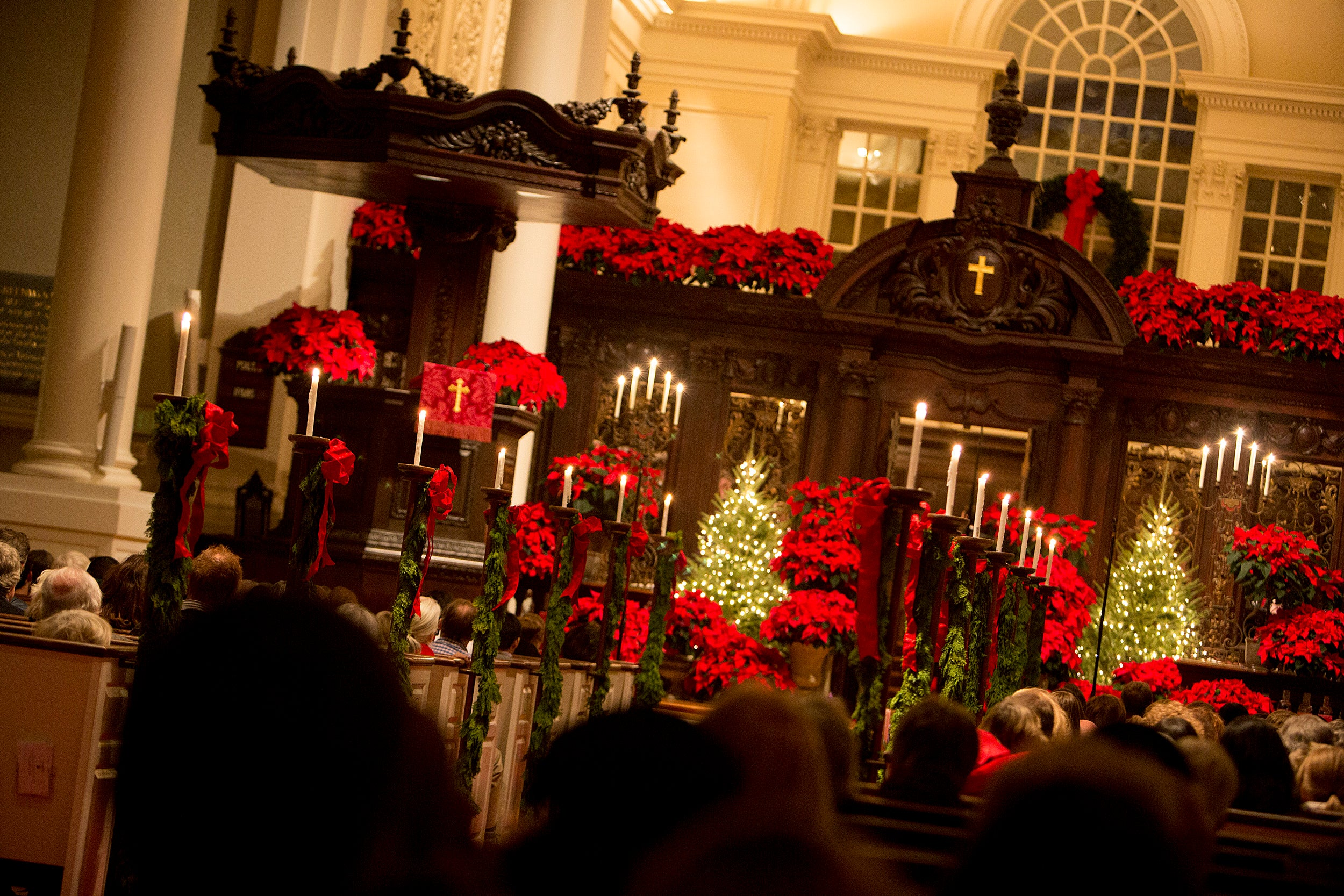 Memorial Church decorated for Christmas.