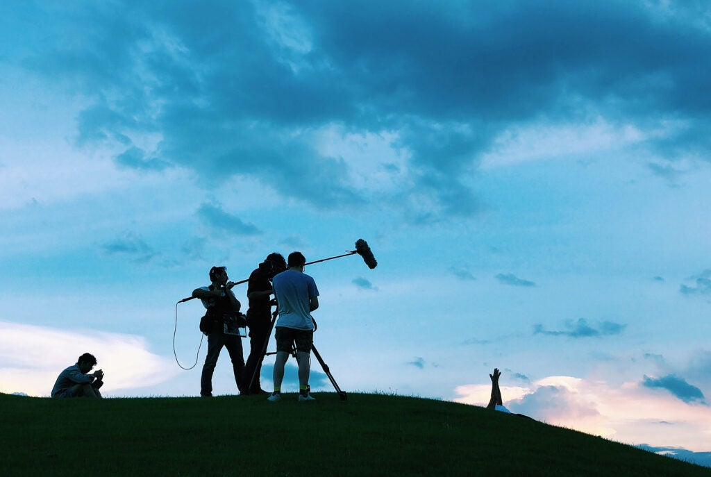 "Filmmakers work on set of ""Some Kind of Heaven."""