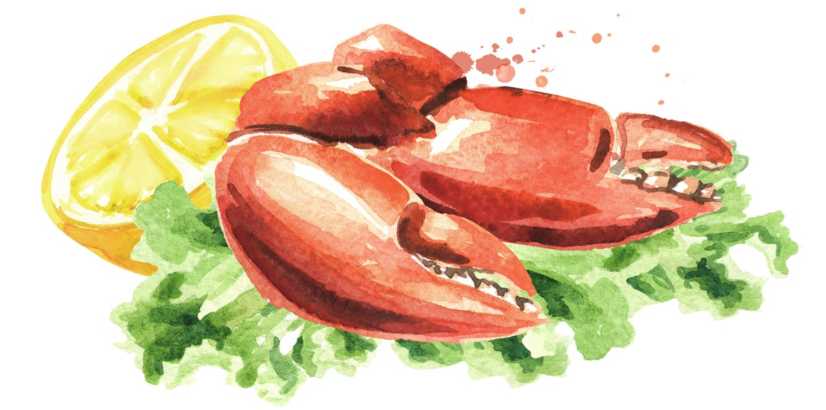 Illustration of crab legs on lettuce with lemon.