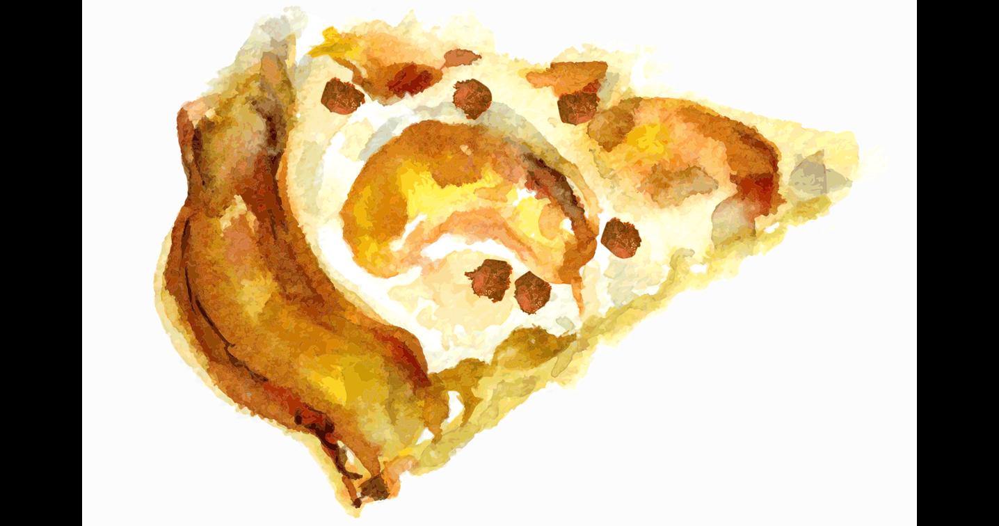 Illustration of pear crostata.