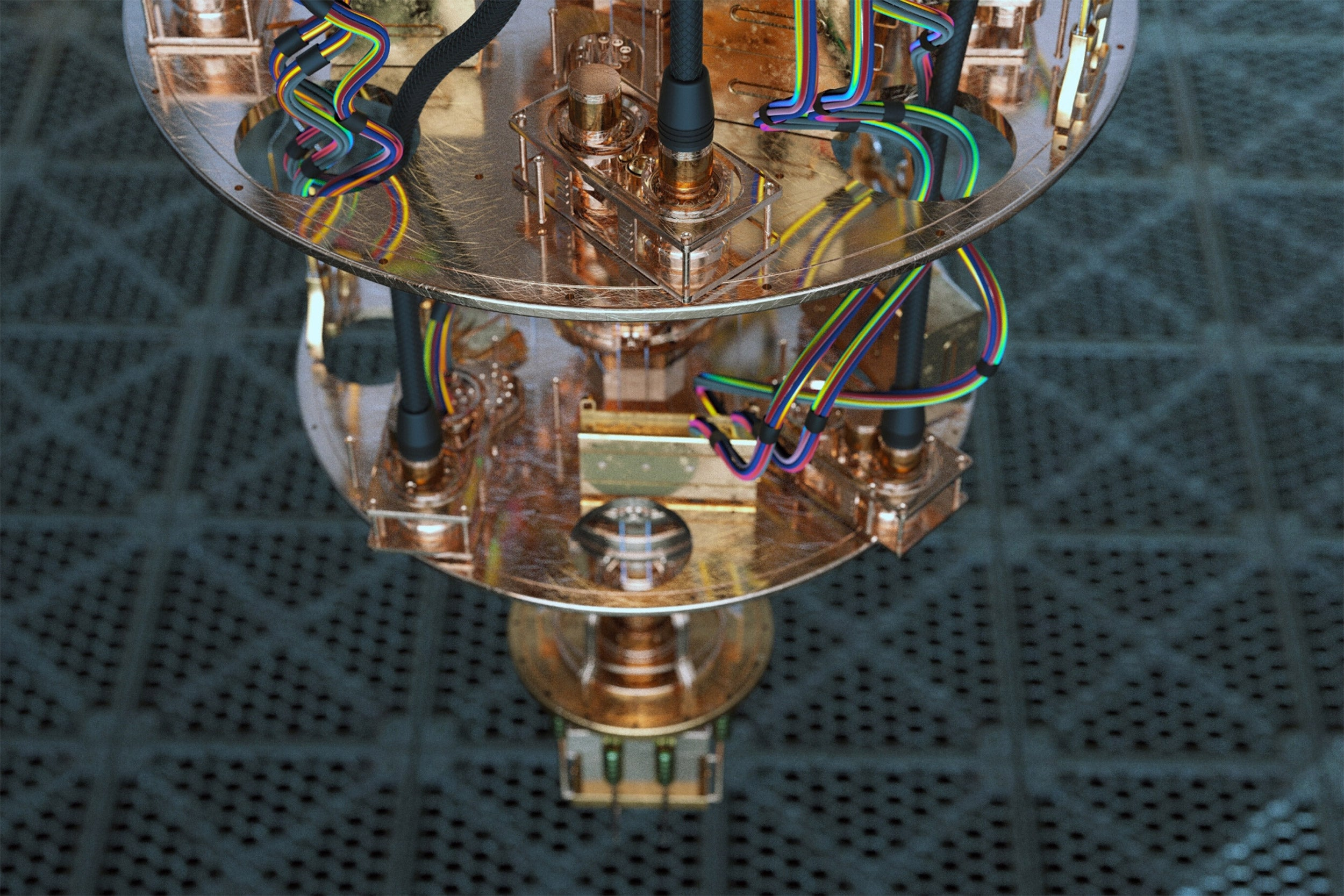 A close up view of a quantum computer.