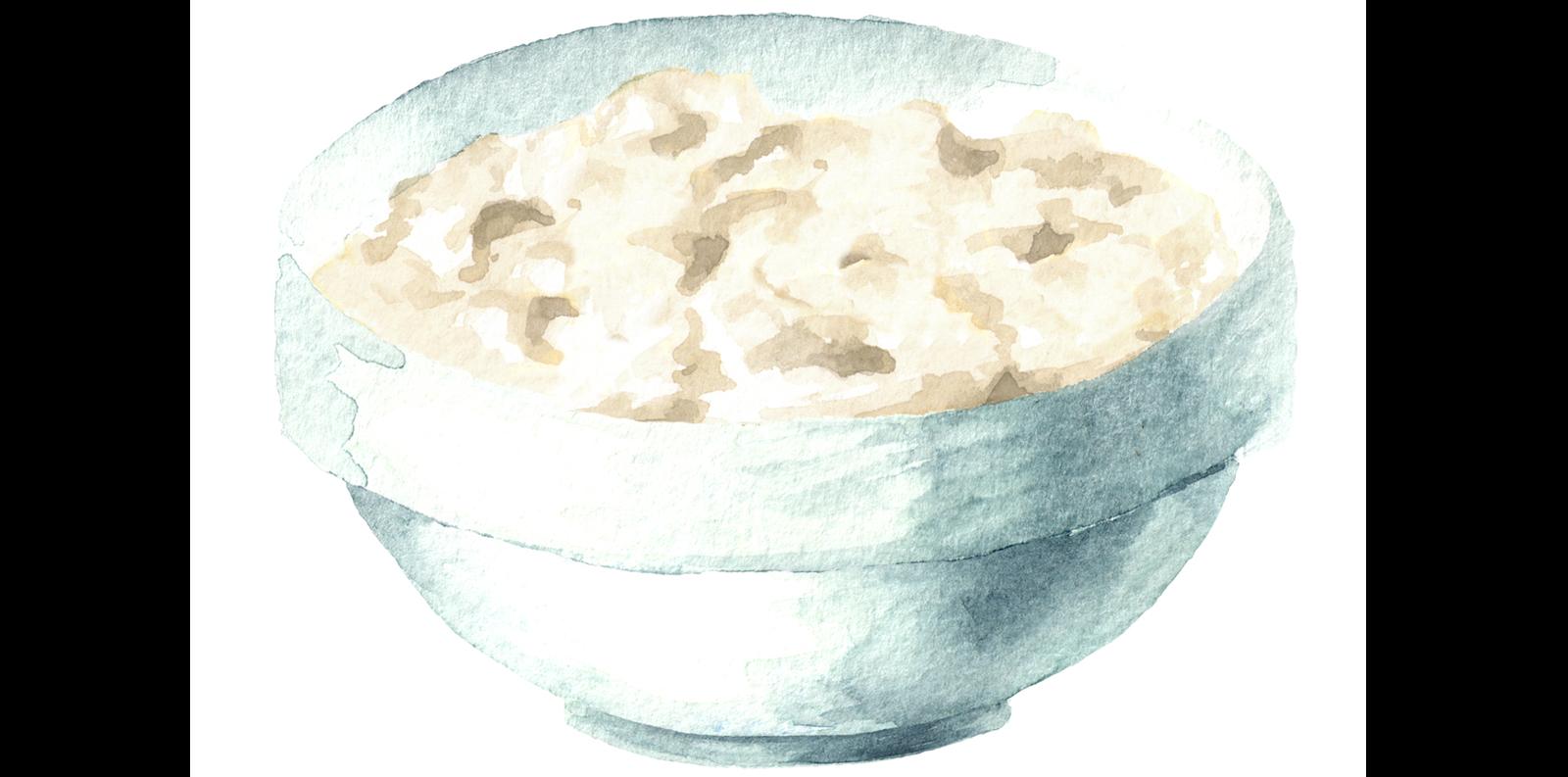 Illustration of rice pudding.