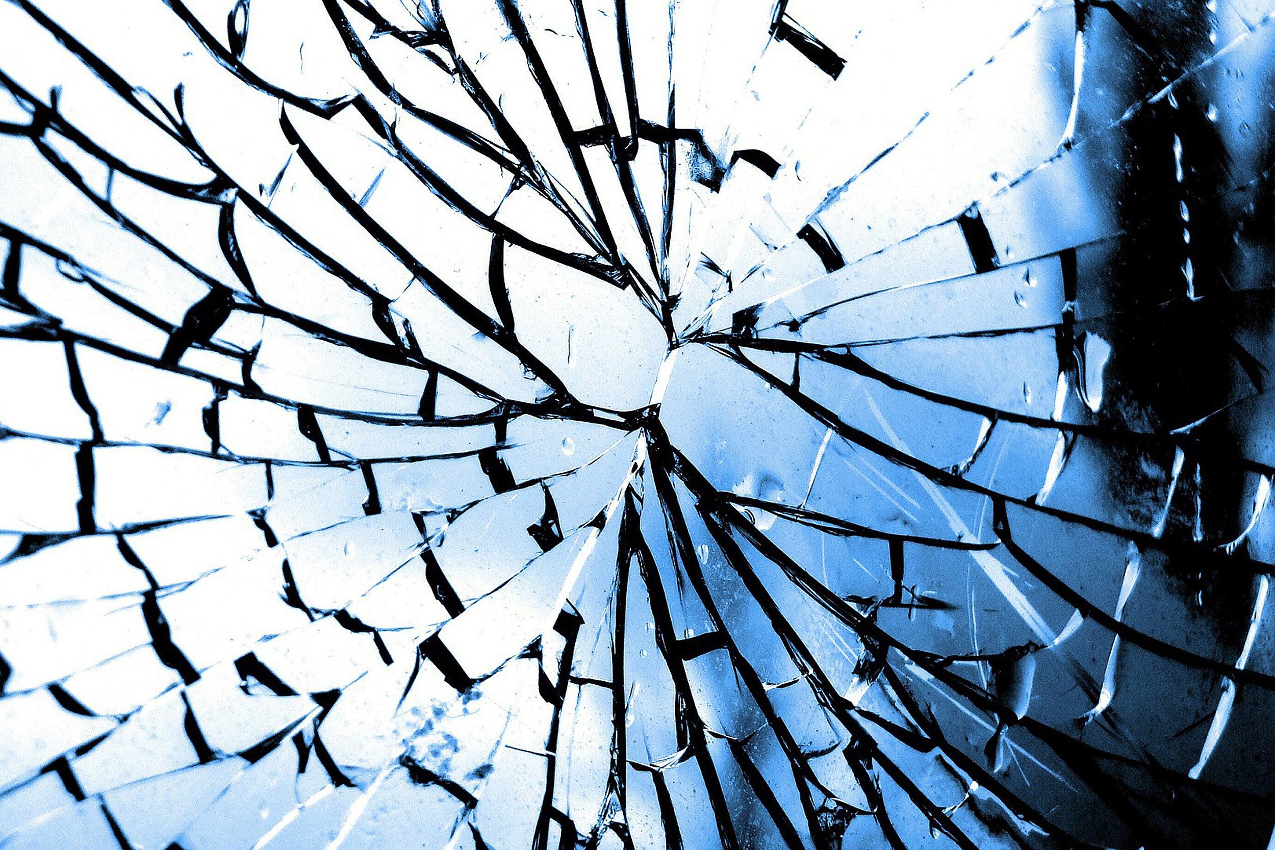 Broken glass window.
