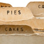 Old-fashioned recipe card dividers.