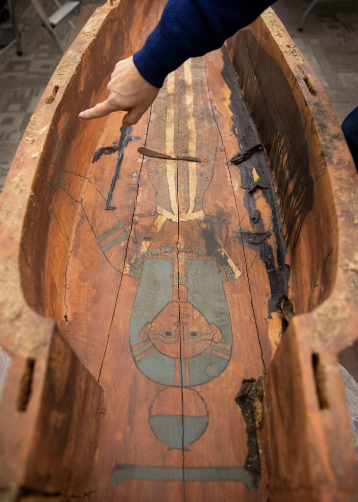 Detail of the blue and gold goddess painted inside Mut-iy-iy's coffin.