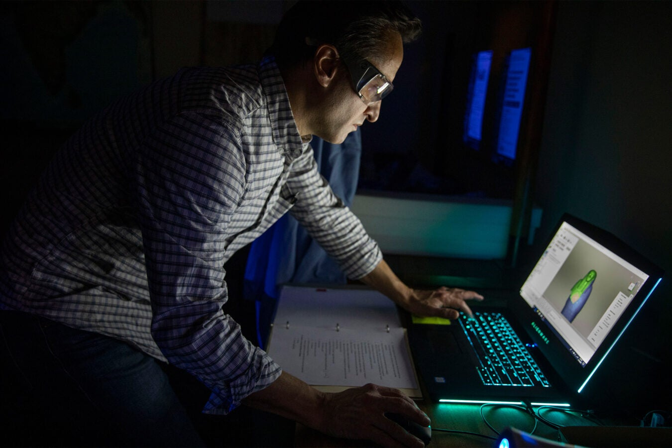 Adam Aja with laptop.