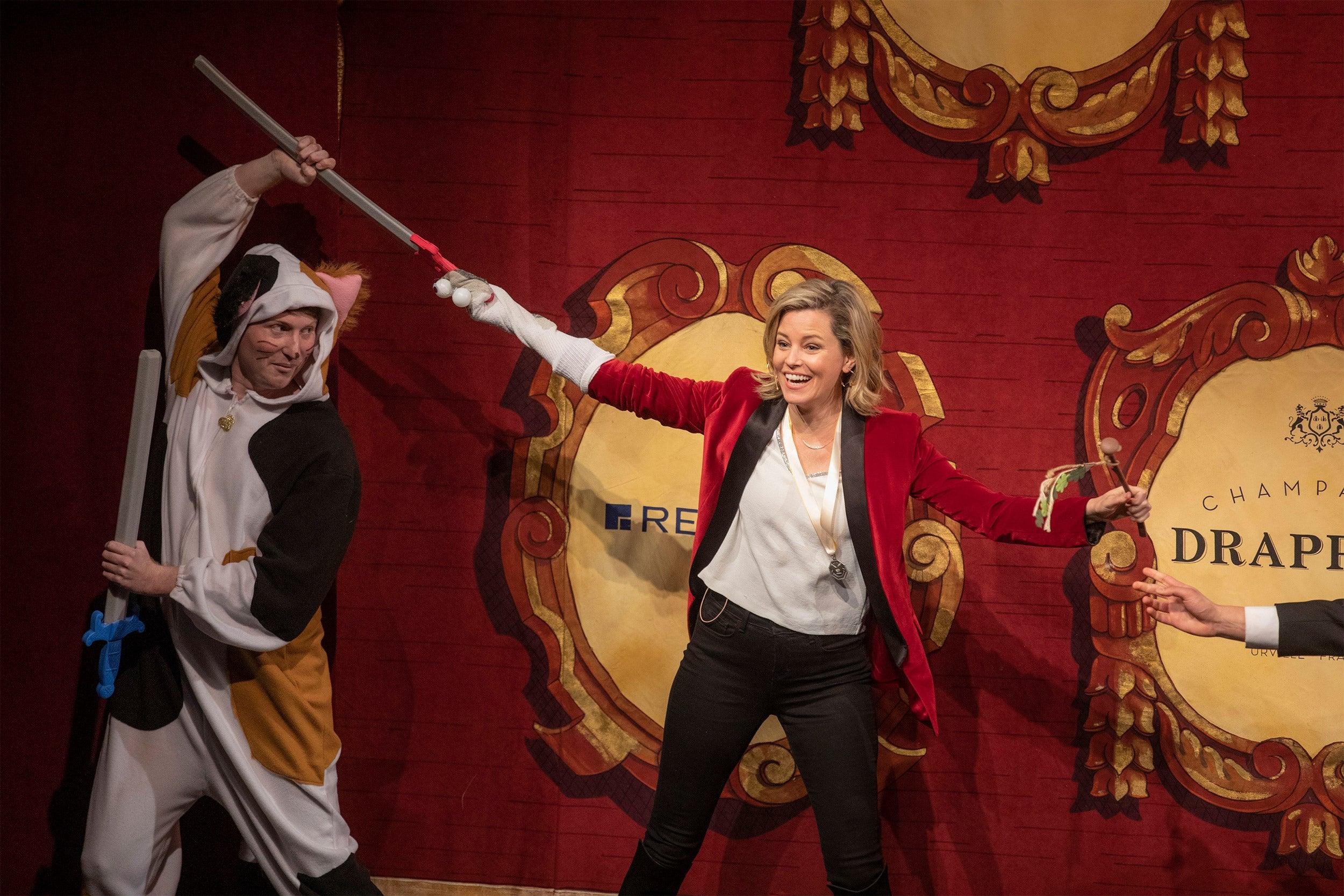Elizabeth Banks onstage at Farkas Hall.