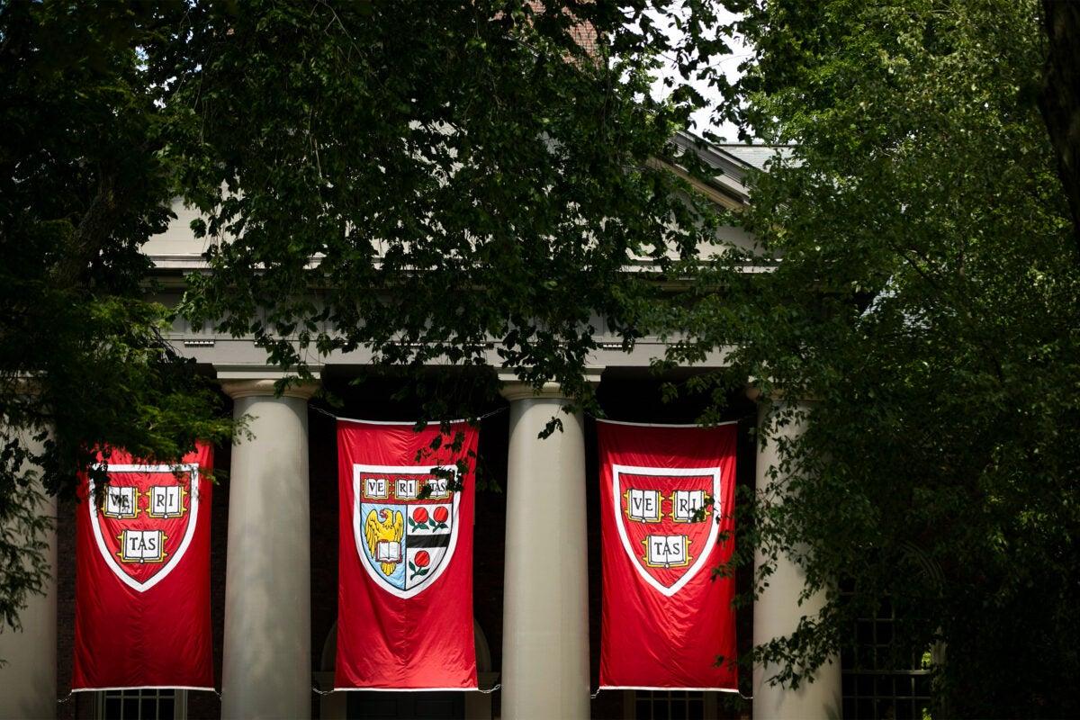 Veritas flags hanging at Harvard's Memorial Church.
