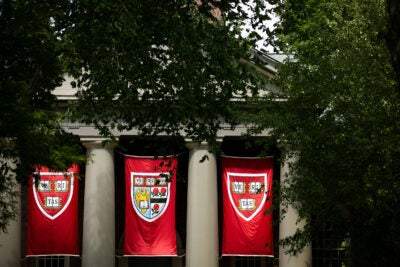 Veritas flags hanging at Harvard's Memorial Church.