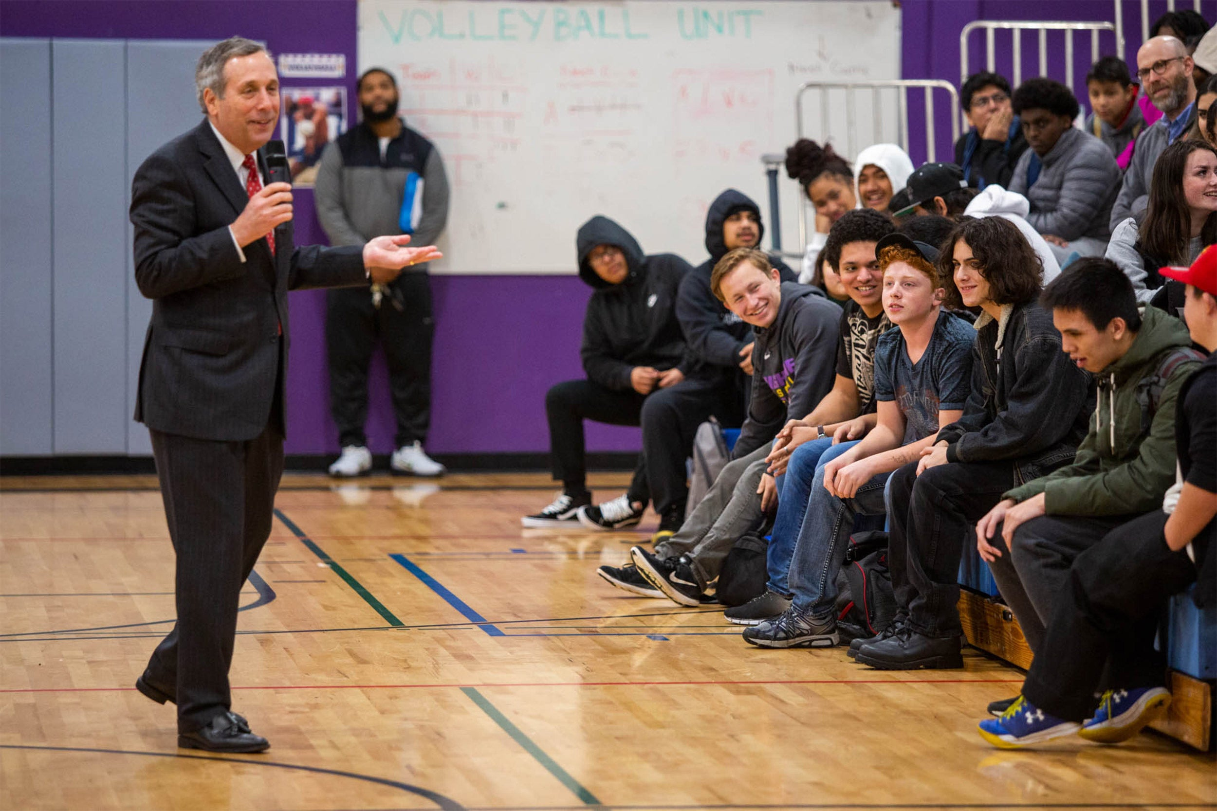 President Bacow speaking to students.