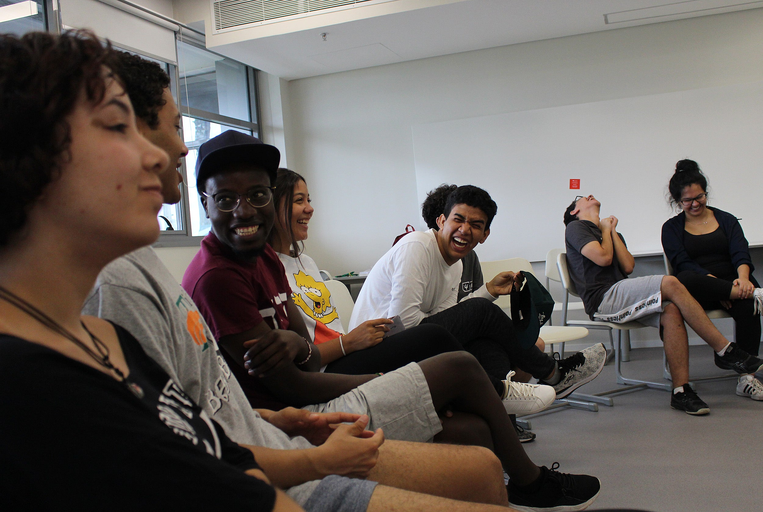 Students laughing.