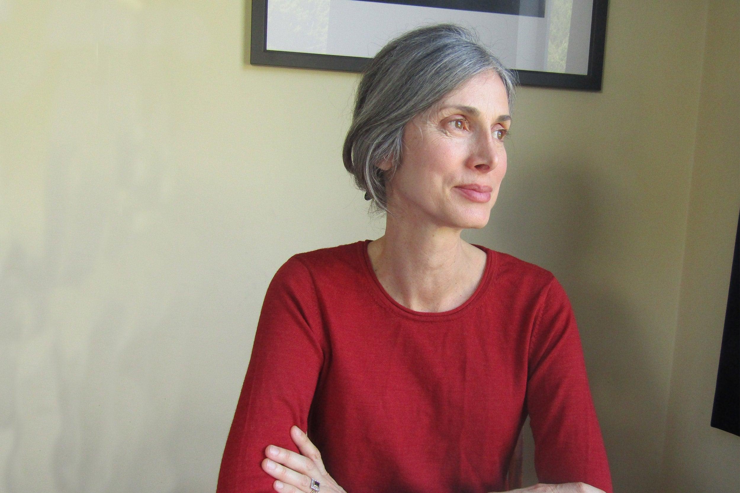 Writer at her desk.