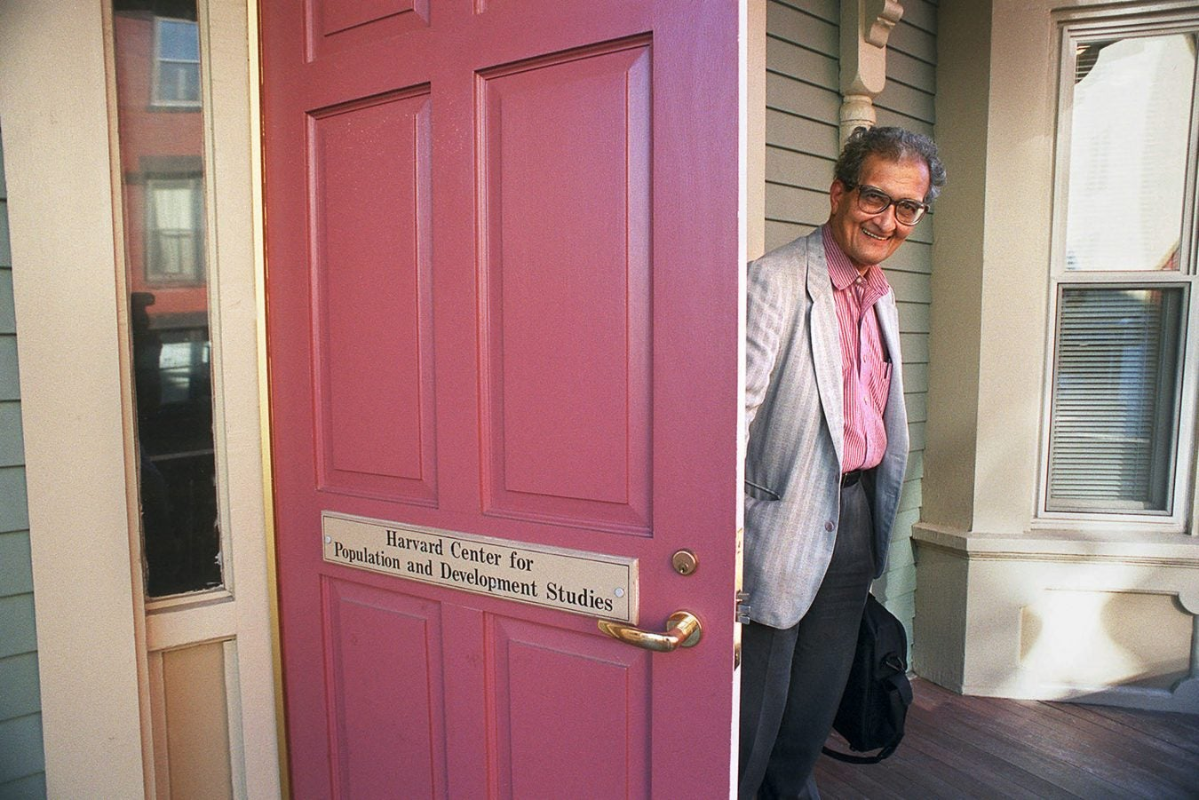 Amartya Sen leaving his office.