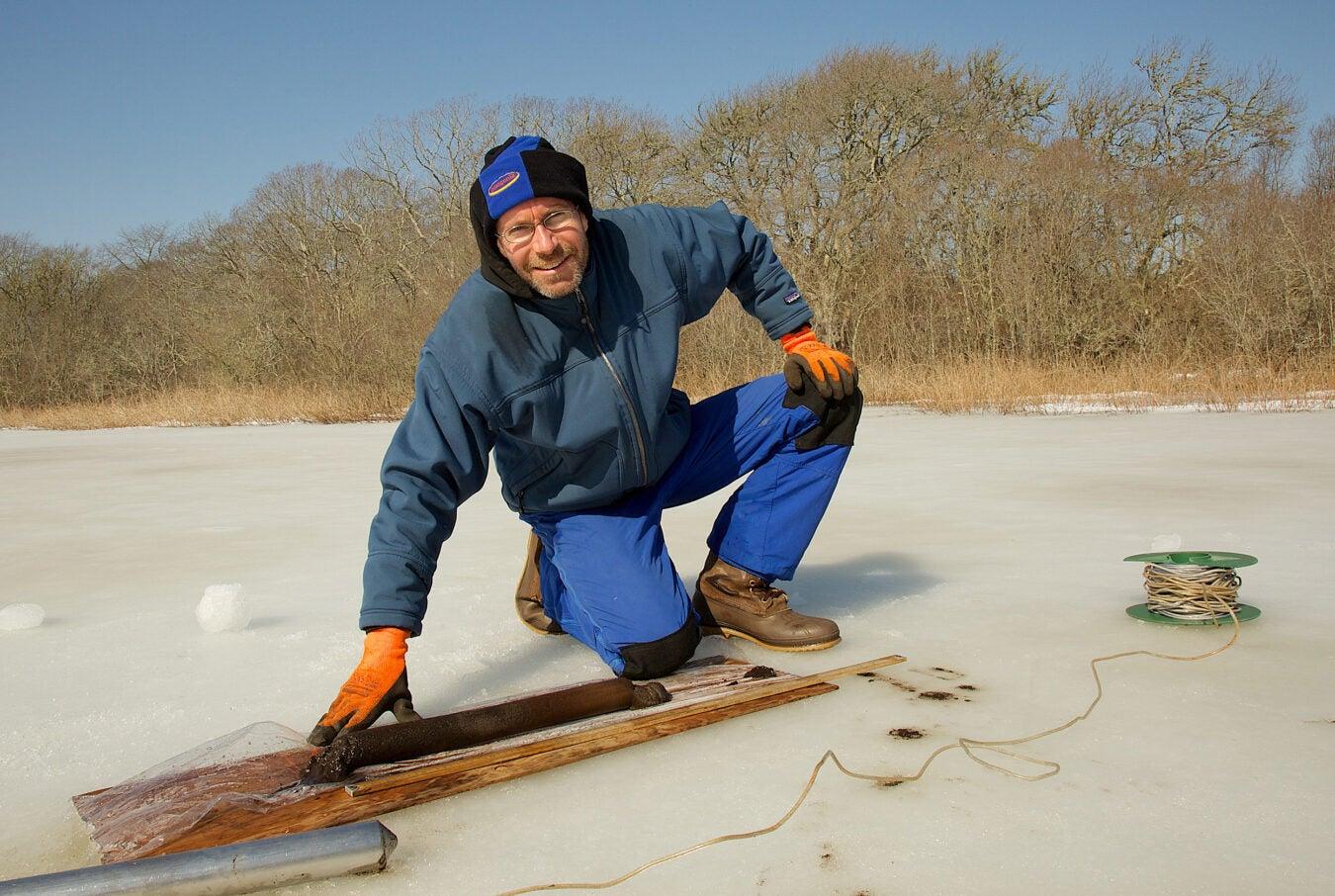 Man on frozen pond.