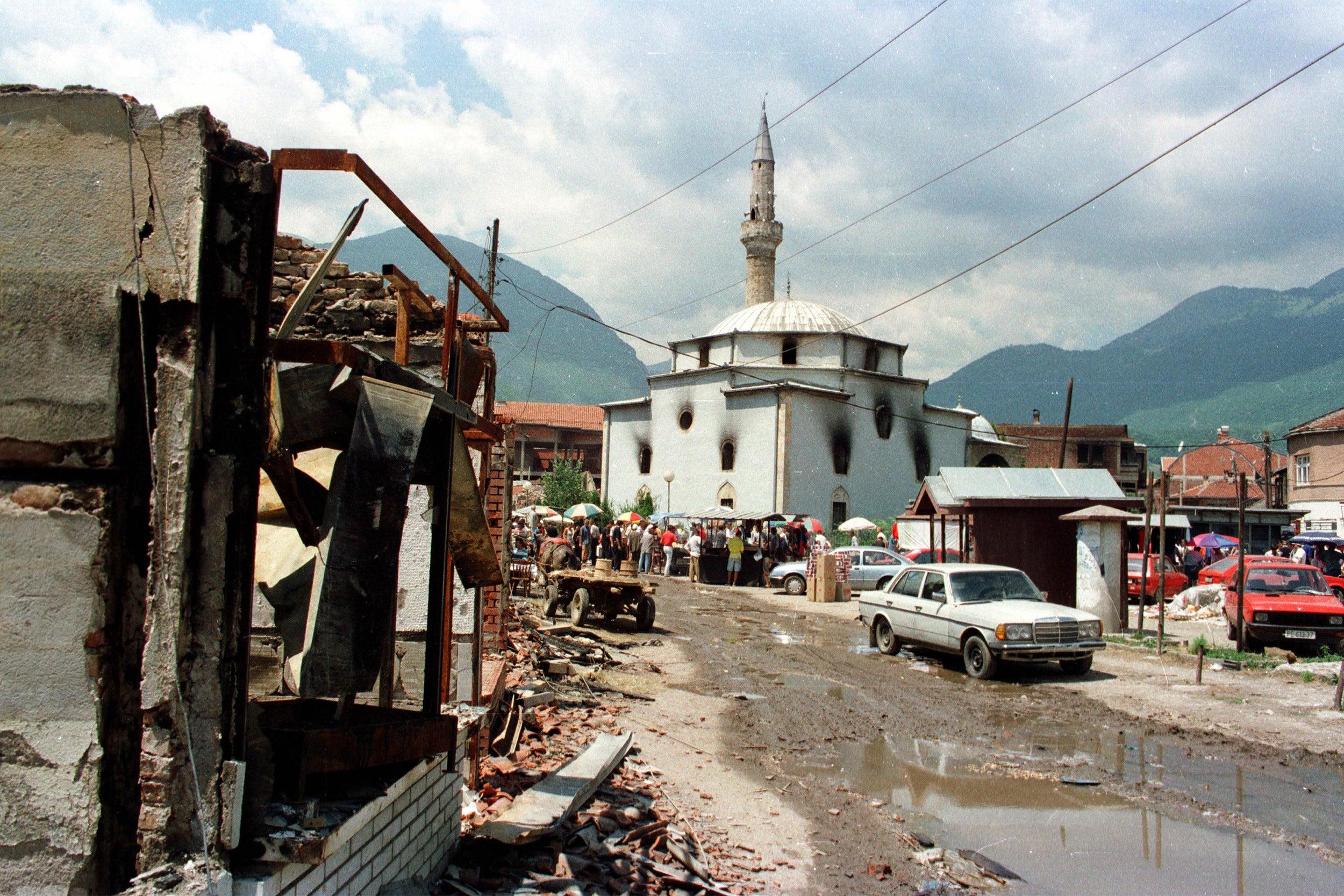 Burned mosque in Kosovo.