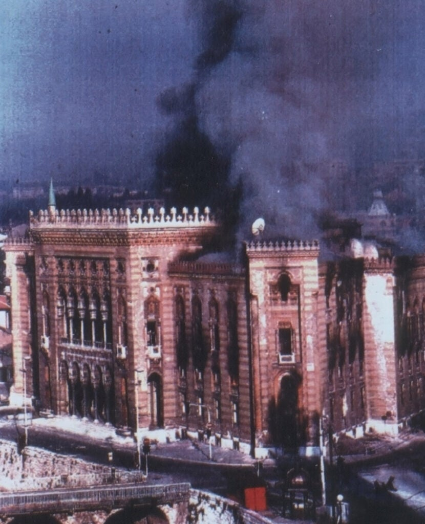 Burning library in Bosnia.