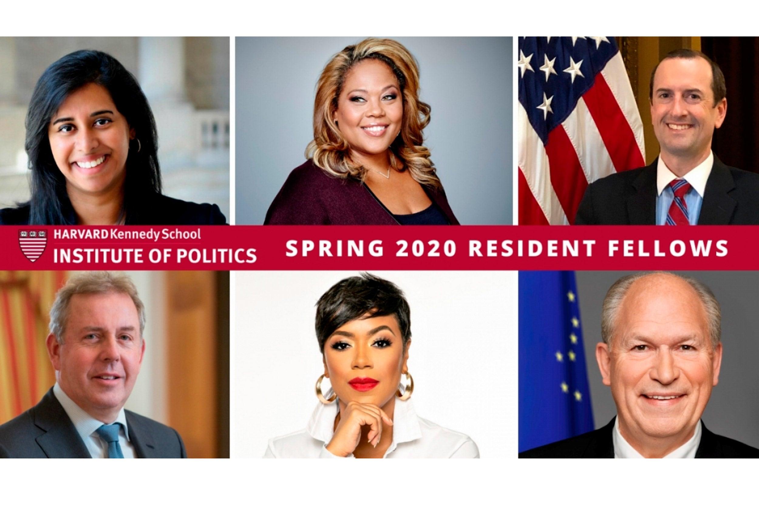 Photos of spring fellows at Institute of Politics.