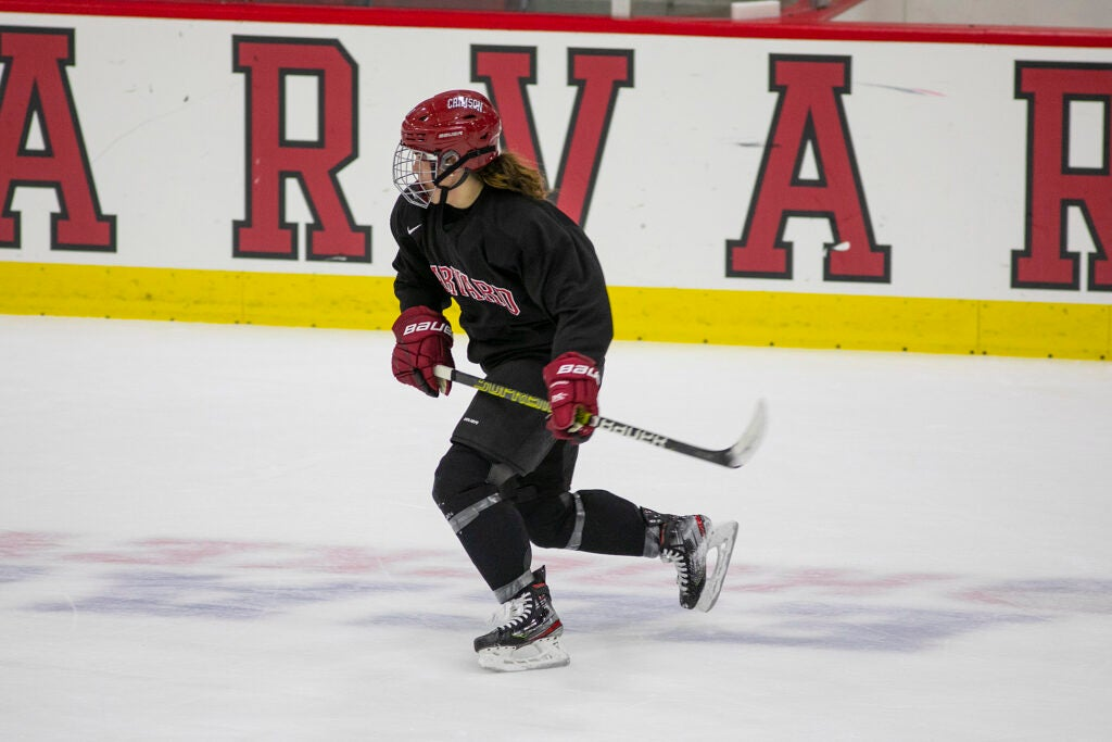Maryna Macdonald skates at practice.