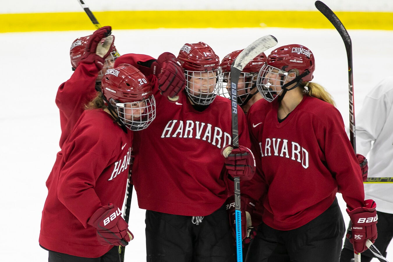 Harvard's Women's Ice Hockey team practices.