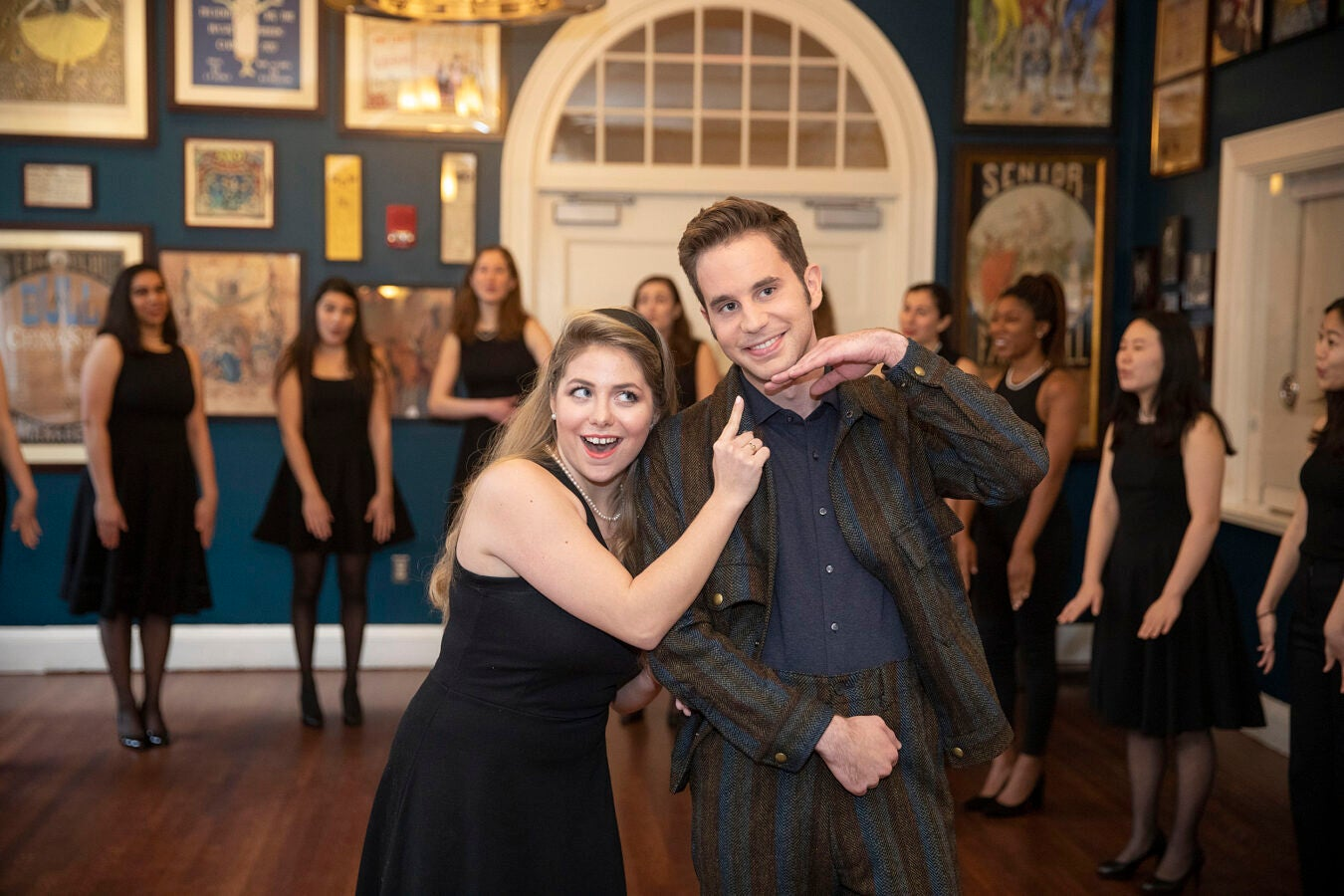 Ben Platt posing with a Harvard student.