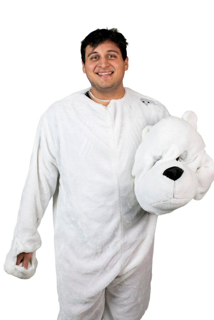 Frankie Matos is dressed as the Polar Bear for Pforzheimer House.