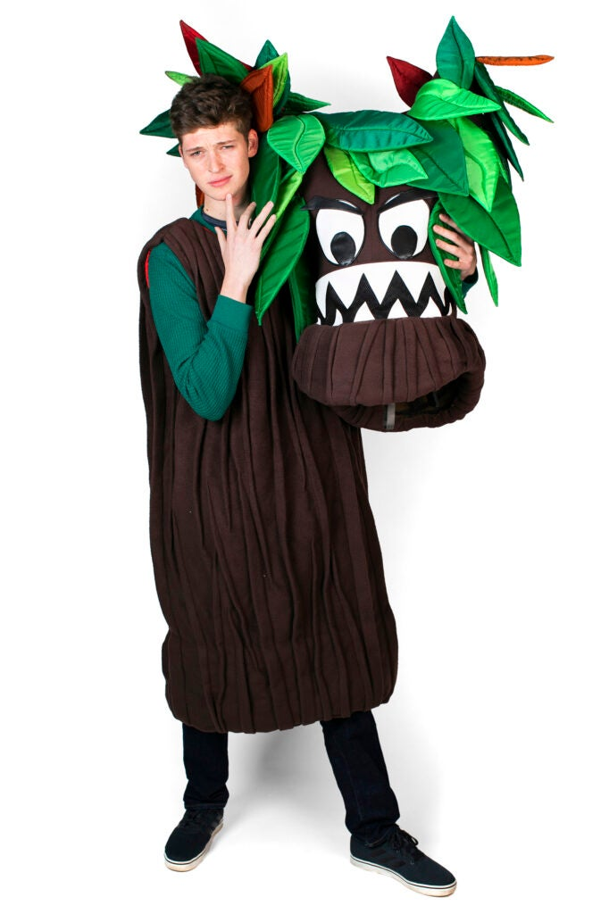 Felix Bulwa is dressed as the Tree Mascot for Currier House.