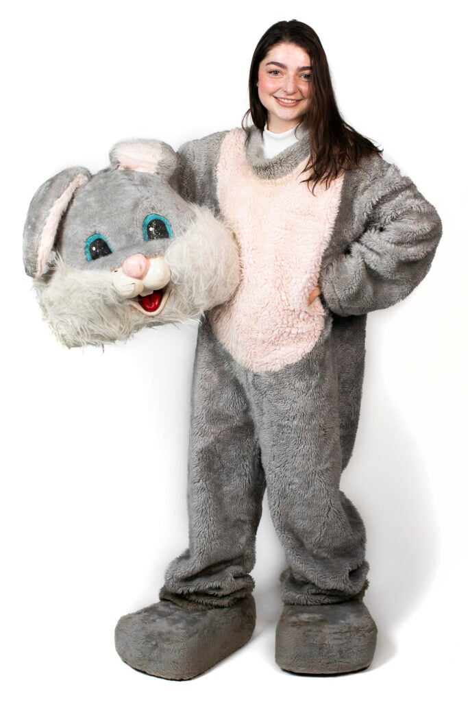 Haley Benbow is dressed as the Hare Mascot for Leverett House.