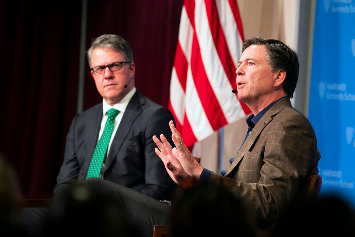 Former FBI Director James Comey speaks with Eric Rosenbach.