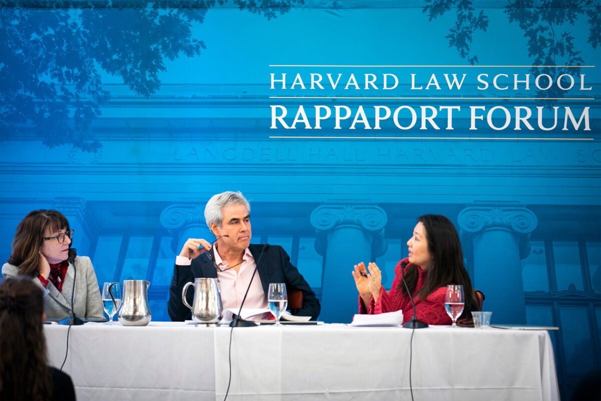 Panel of speakers at Harvard Law School.