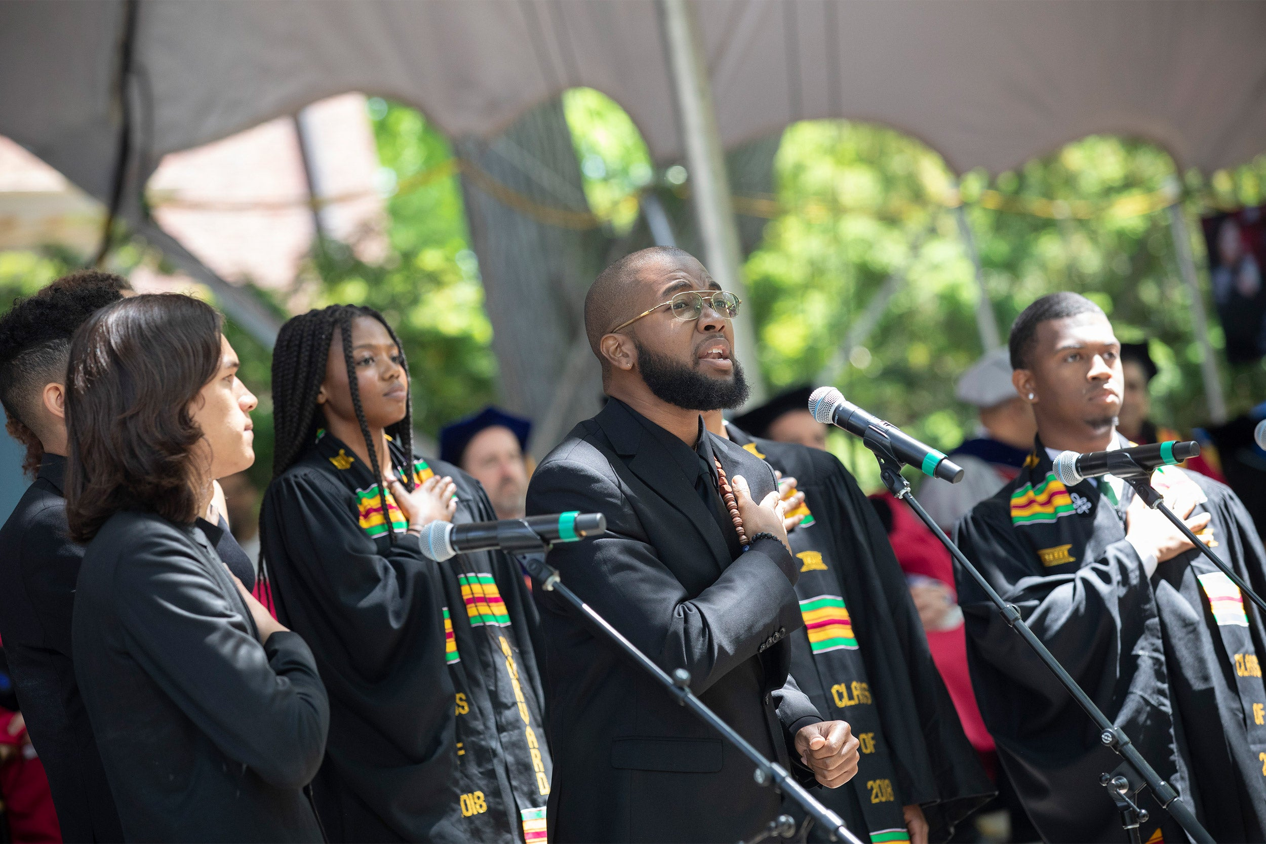 Joshuah Campbell '16 singing at Harvard's commencement in 2018.