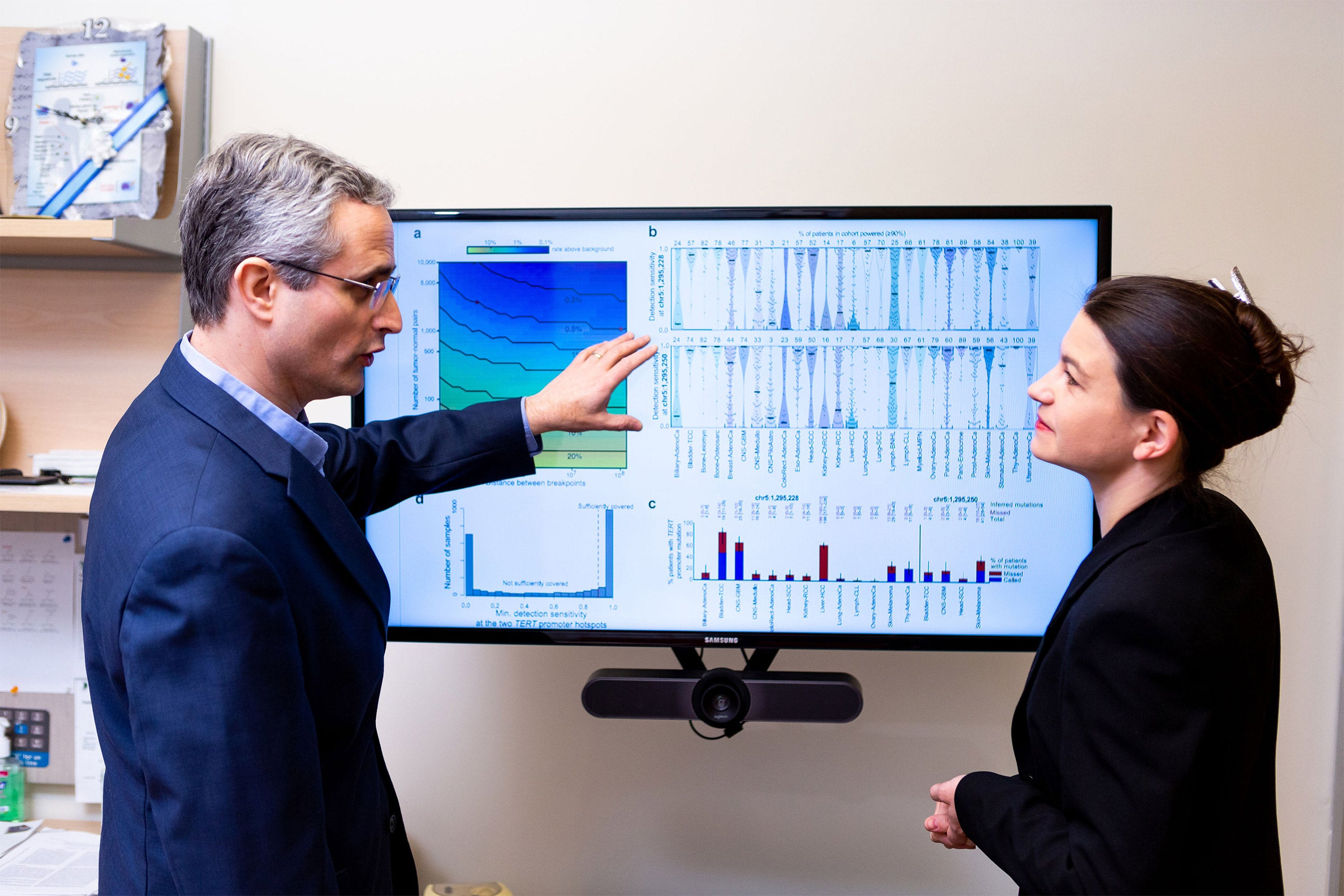 Two scientists looking at a computer screen.