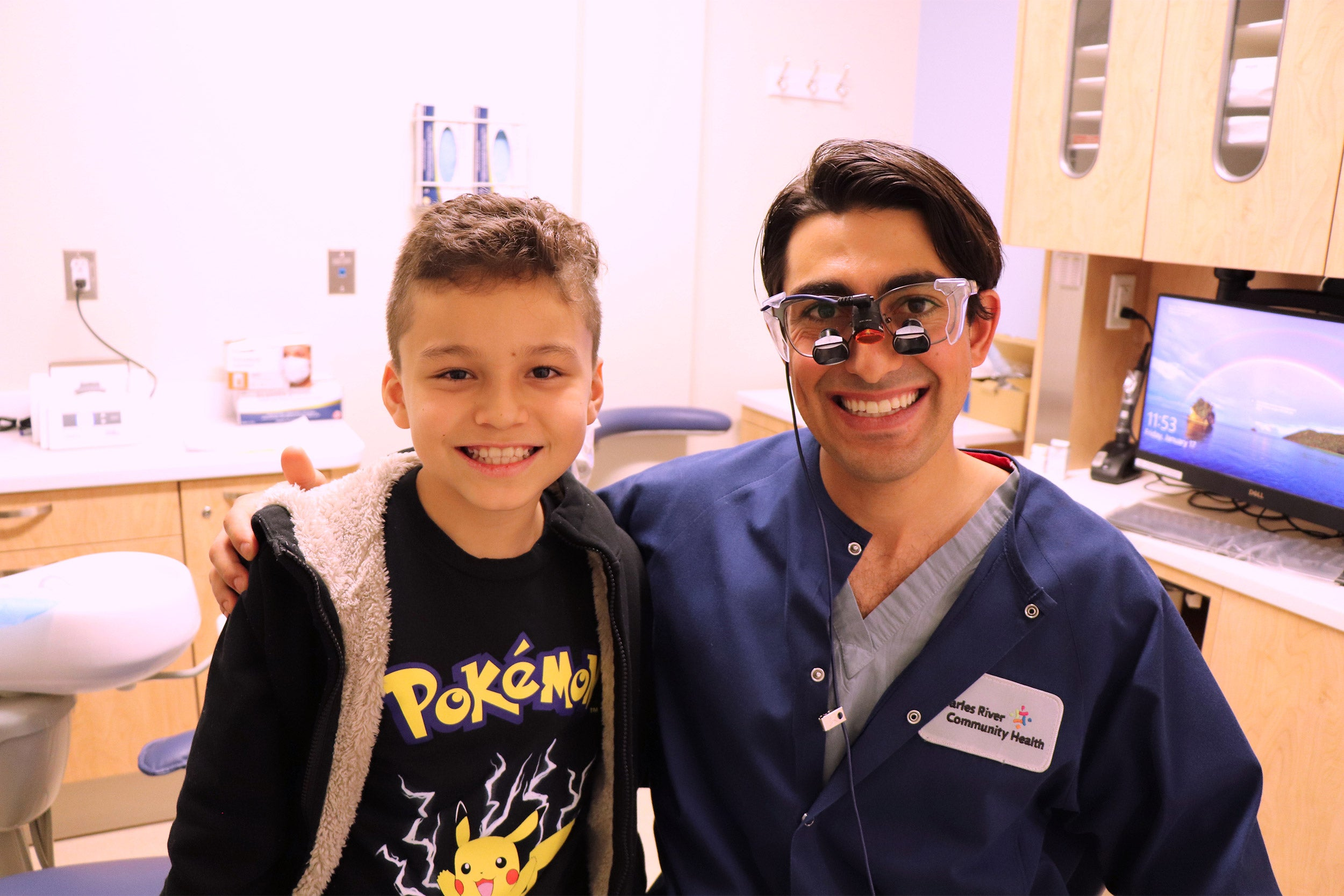 A young boy and his dentist.