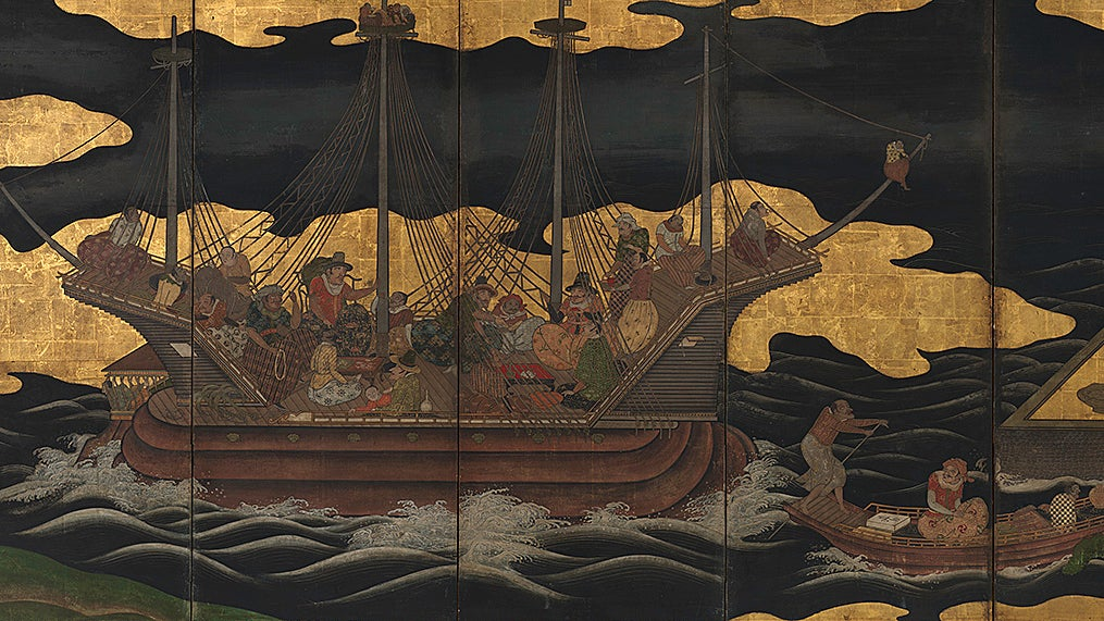 Detail from Japanese screen depicting Portuguese ships.