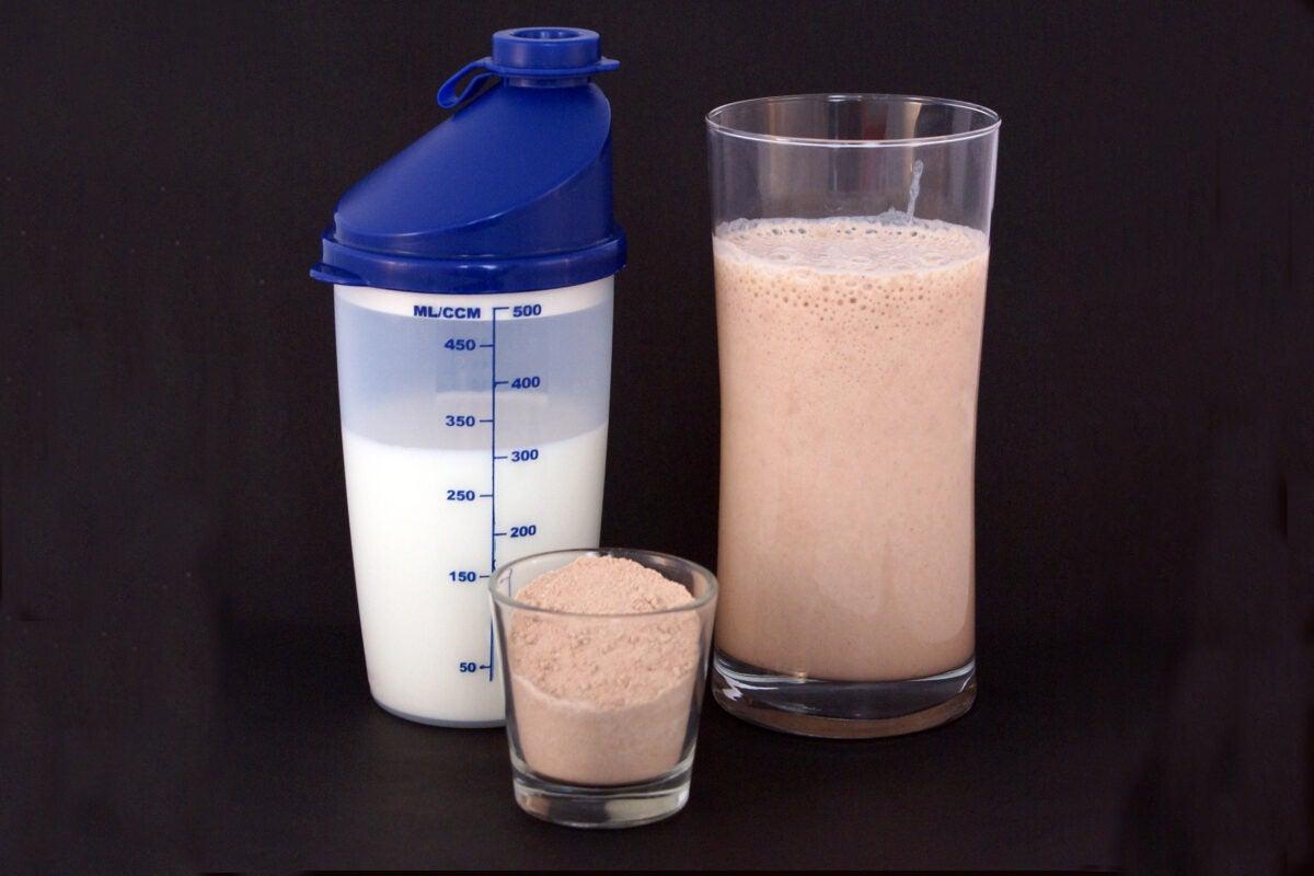 Protein powder with milk.