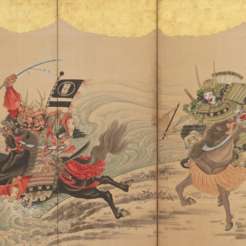 Japanese screen depicts warriors crossing river on horseback.