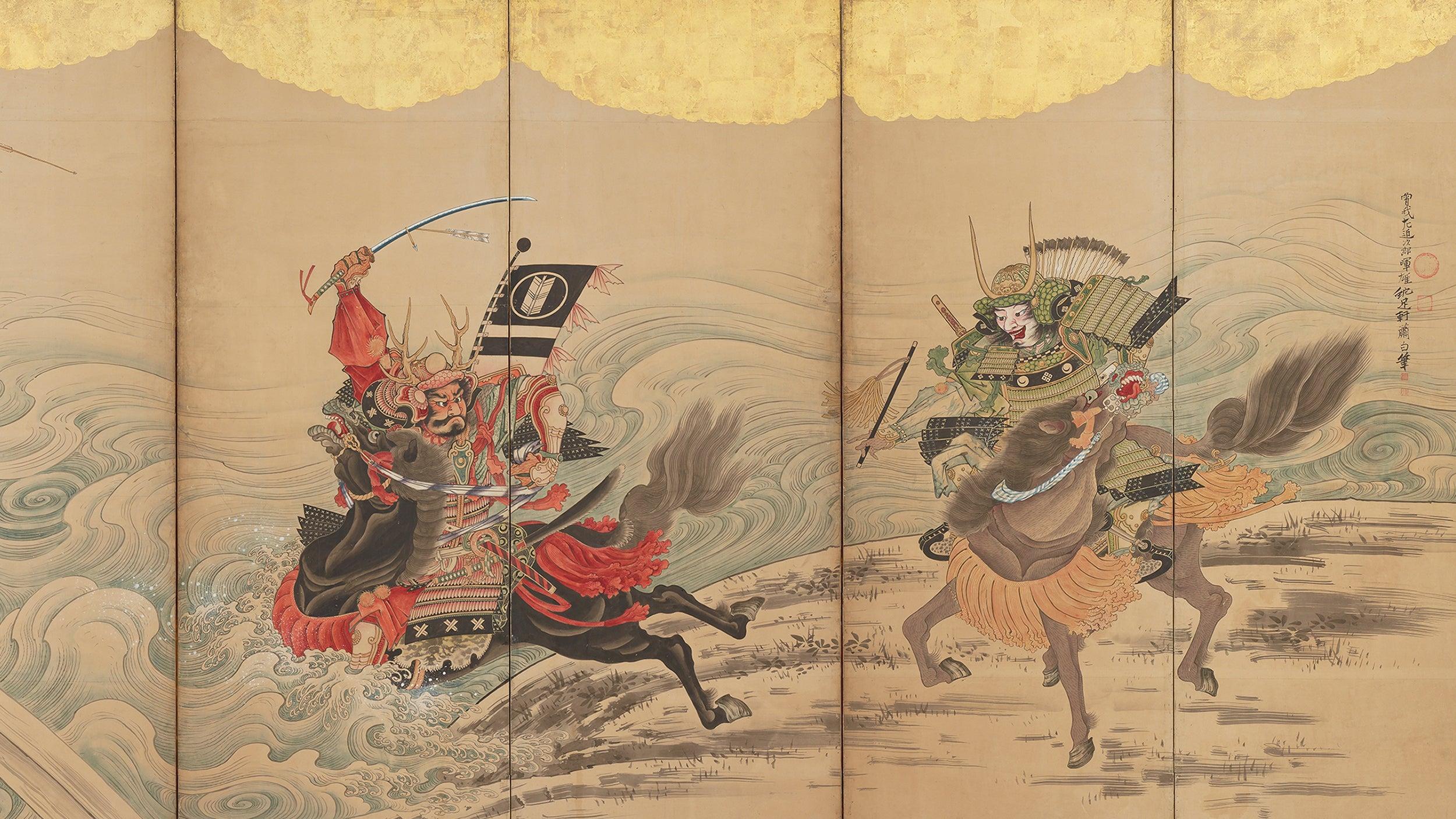 Japanese screen depicts warriors crossing river on horseback.