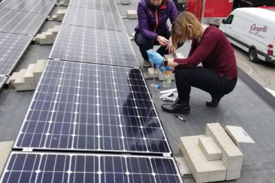 Researchers getting samples off solar panels.