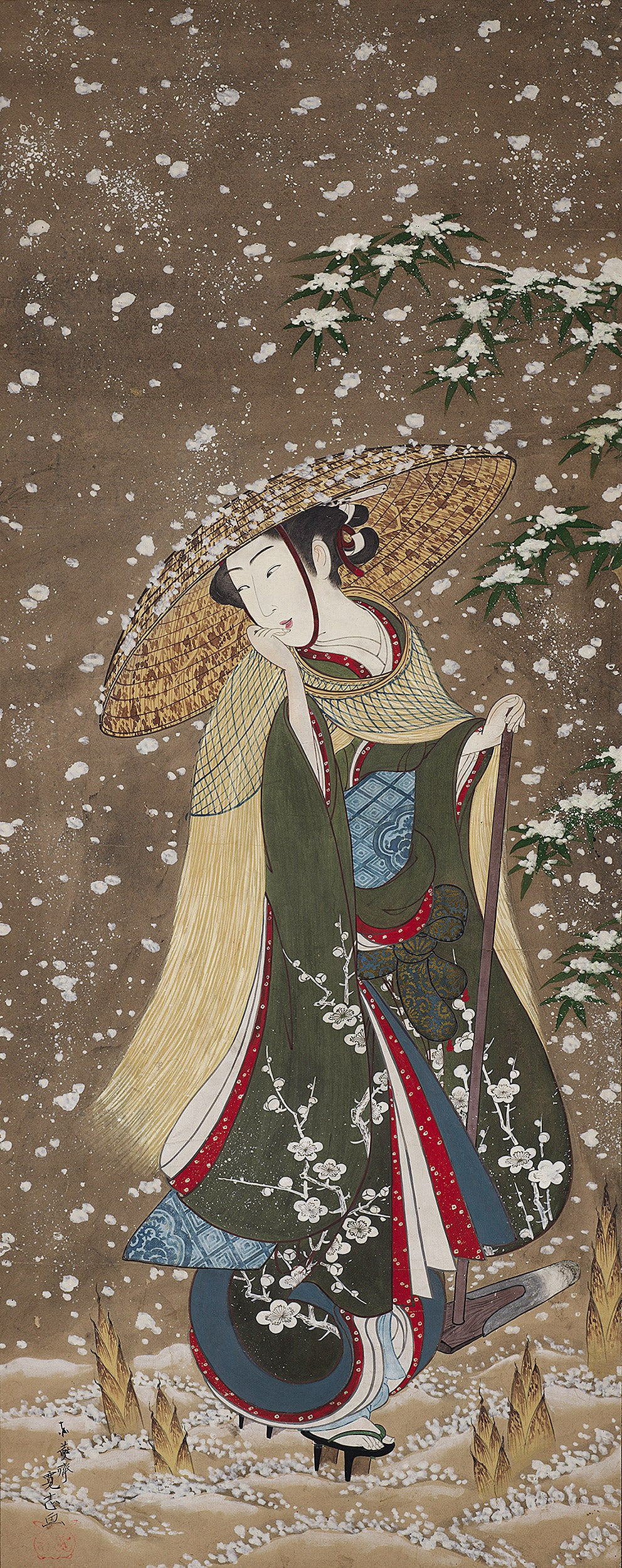 Scroll depicts woman in hat walking through snow with bamboo shoots pushing up through the ground.