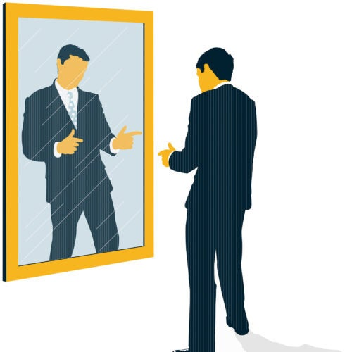 Illustration of confident man facing mirror.