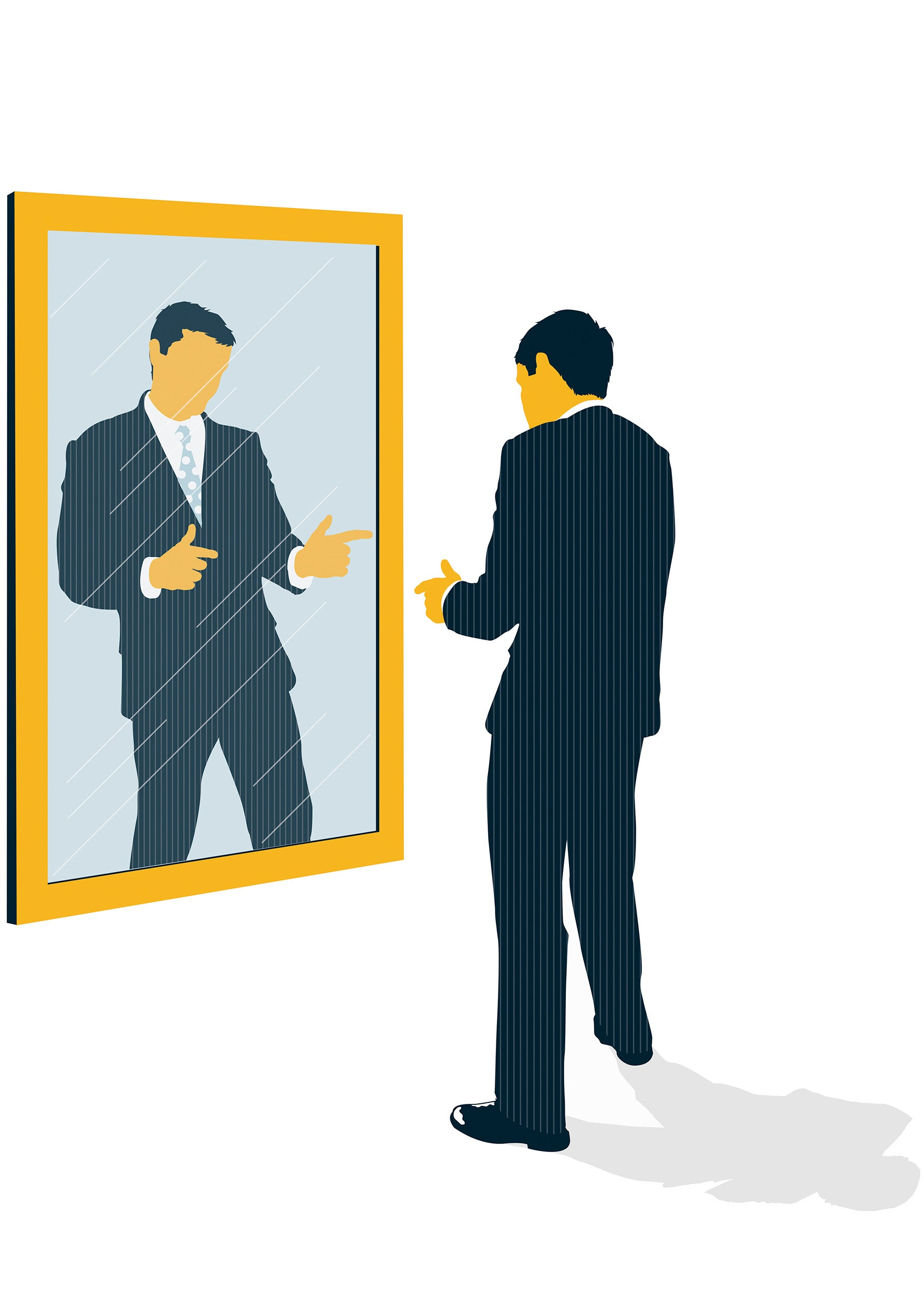 Illustration of confident man facing mirror.