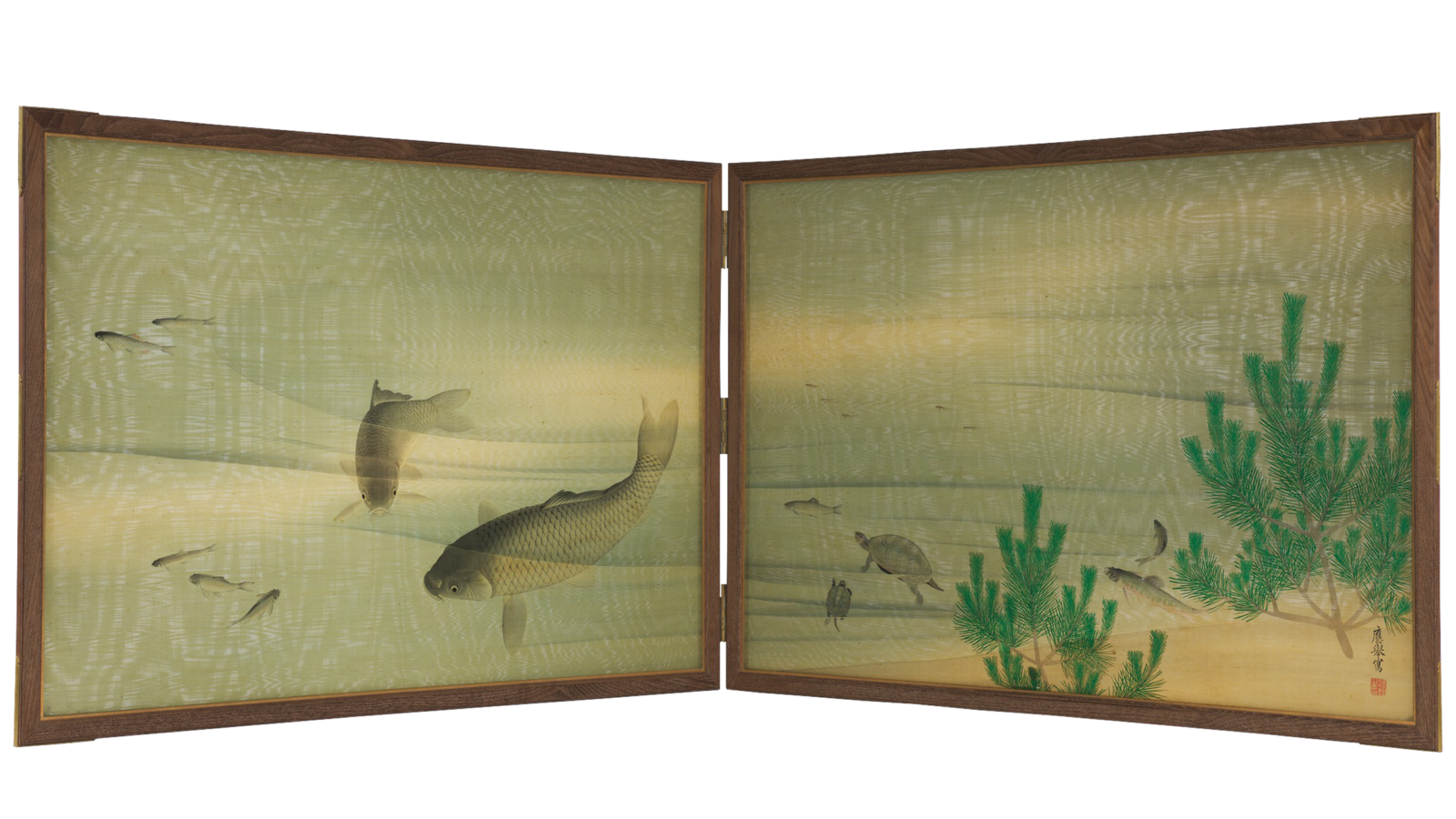 Two-paneled light blue and green silk screen depicts swimming carp and turtles.