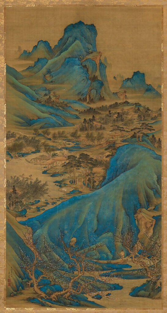 Scroll depicts river winding through a valley with dramatic blue hills.